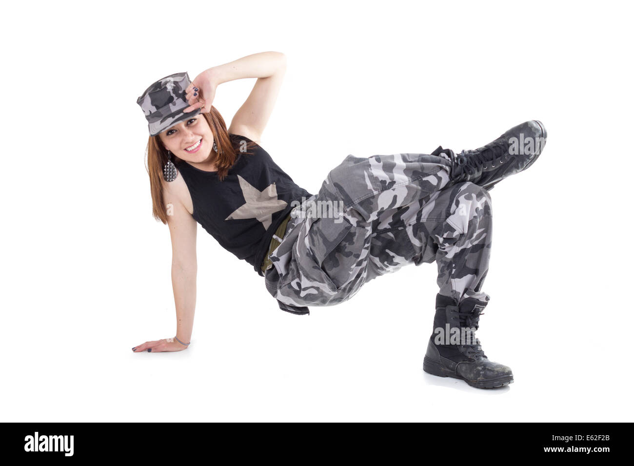 Happy young military patriotic proud girl Stock Photo