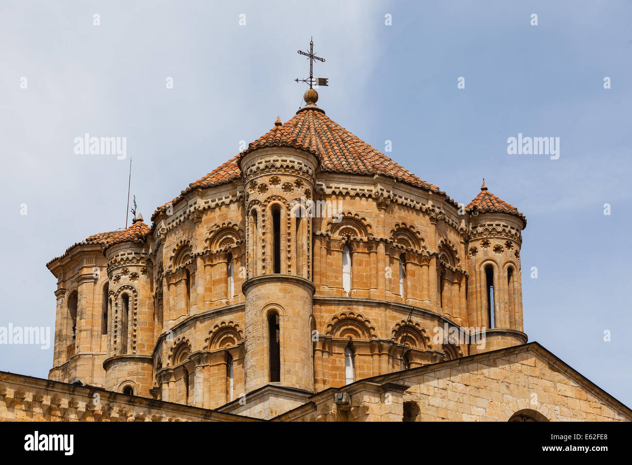 Closeup view of great romanesque dome in the Collegiate Church in the town of Toro , Province of Zamora , Spain Stock Photo