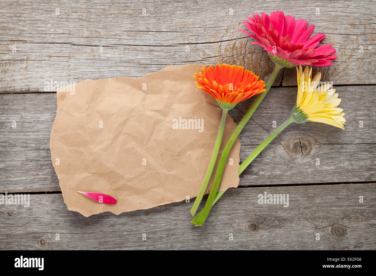 Blank Paper And Gerbera Flower On Wood Stock Photos Blank Paper
