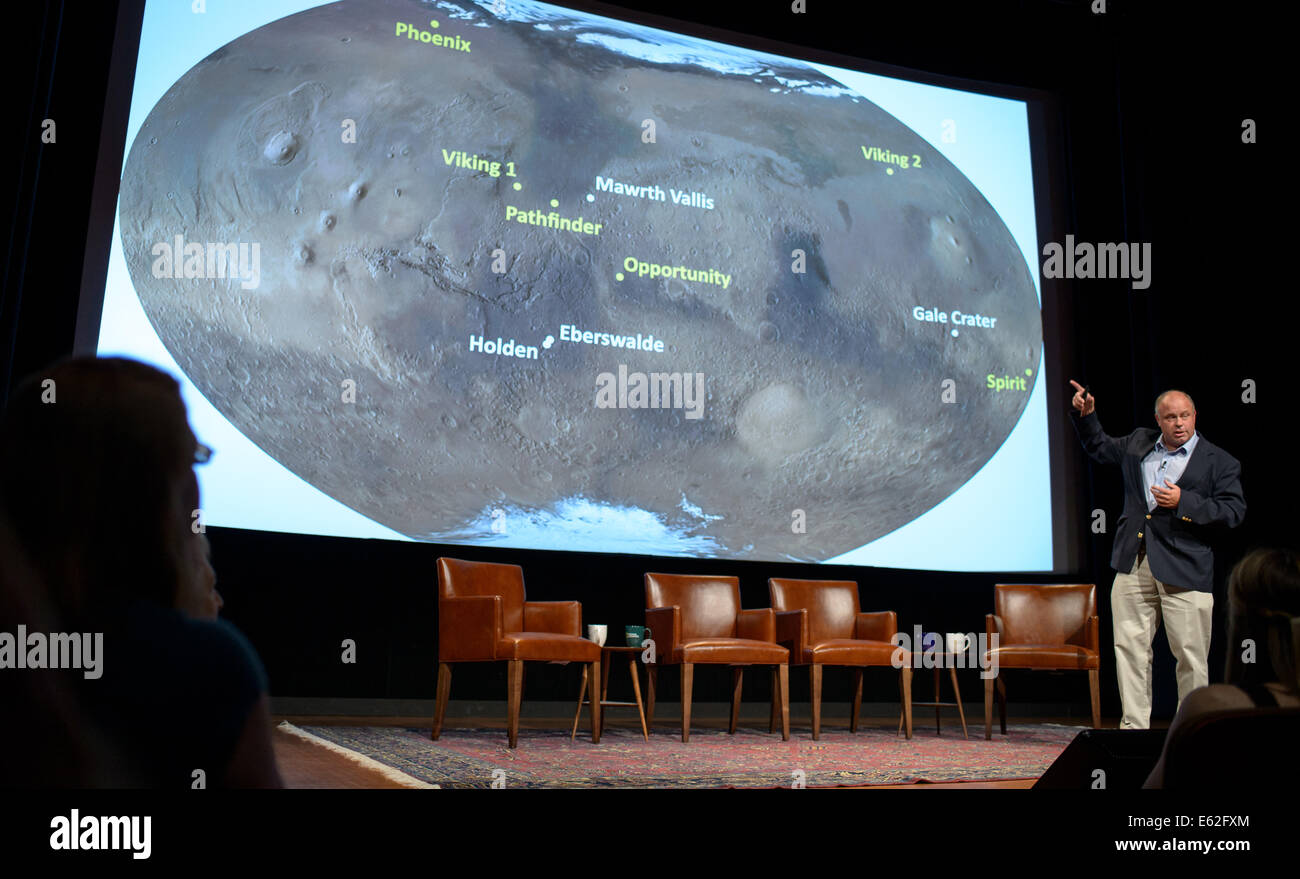 John Grant, geologist and long-term planner, Curiosity Mars Science Laboratory, discusses what we've learned from - Stock Image