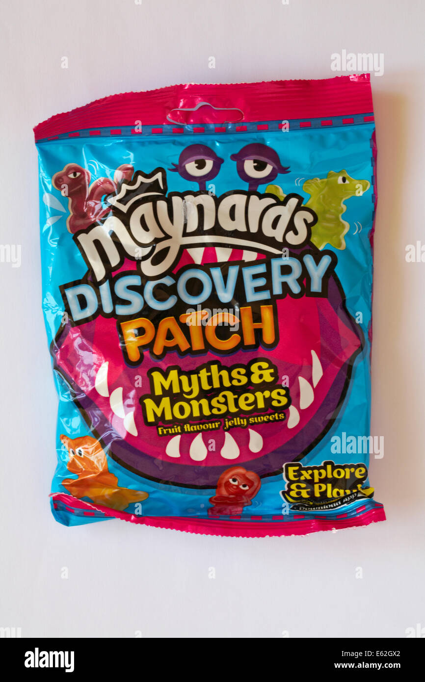 Bag of Maynards Discovery Patch Myths & Monsters fruit flavour jelly sweets isolated on white background - Stock Image