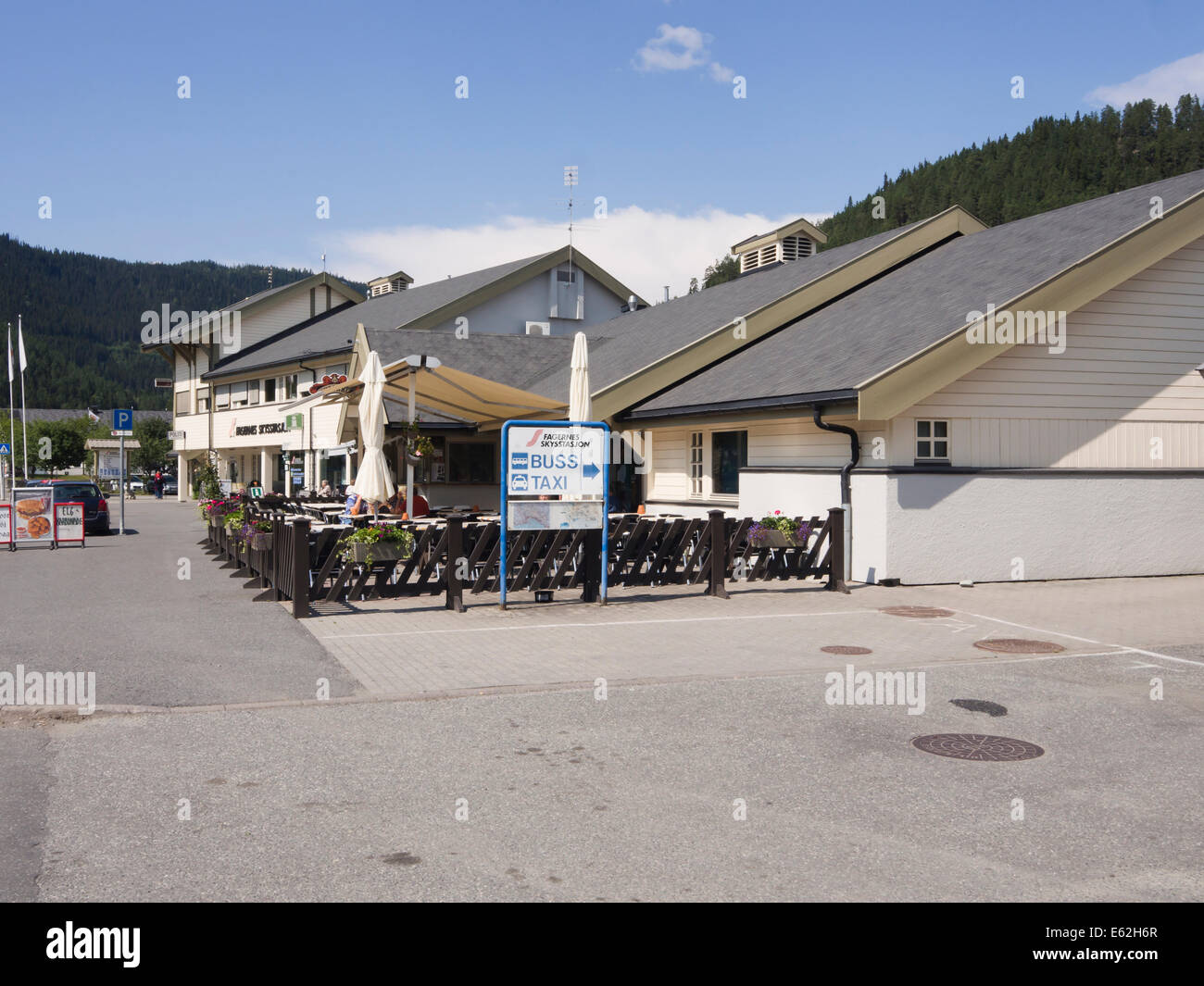 Fagernes skysstasjon, a public transport hub in Fagernes Norway, a village with easy access to the mountains of - Stock Image