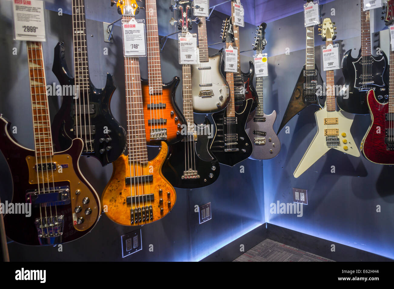 Vintage electric guitars at the newly opened Guitar Center store in Times  Square in New York