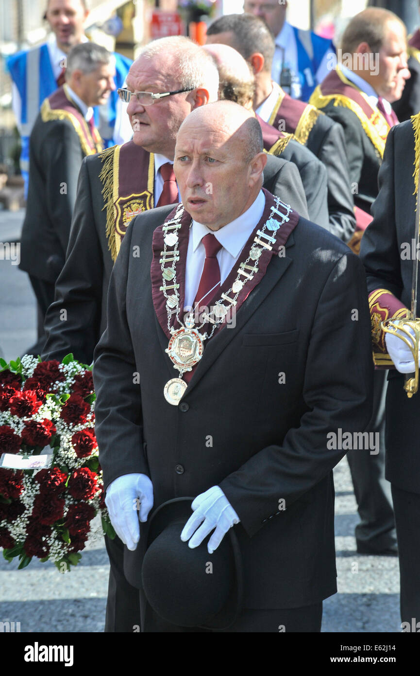 Jim Brownlee, governor of the Apprentice Boys of Derry at the annual Apprentice Boys of Derry parade - Stock Image