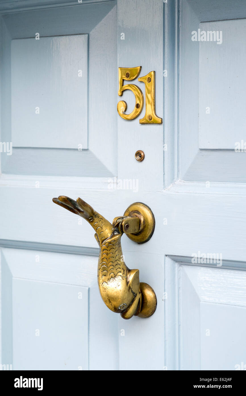 Brass Door Knocker In The Shape Of A Fish And The Number 51 And A Spy