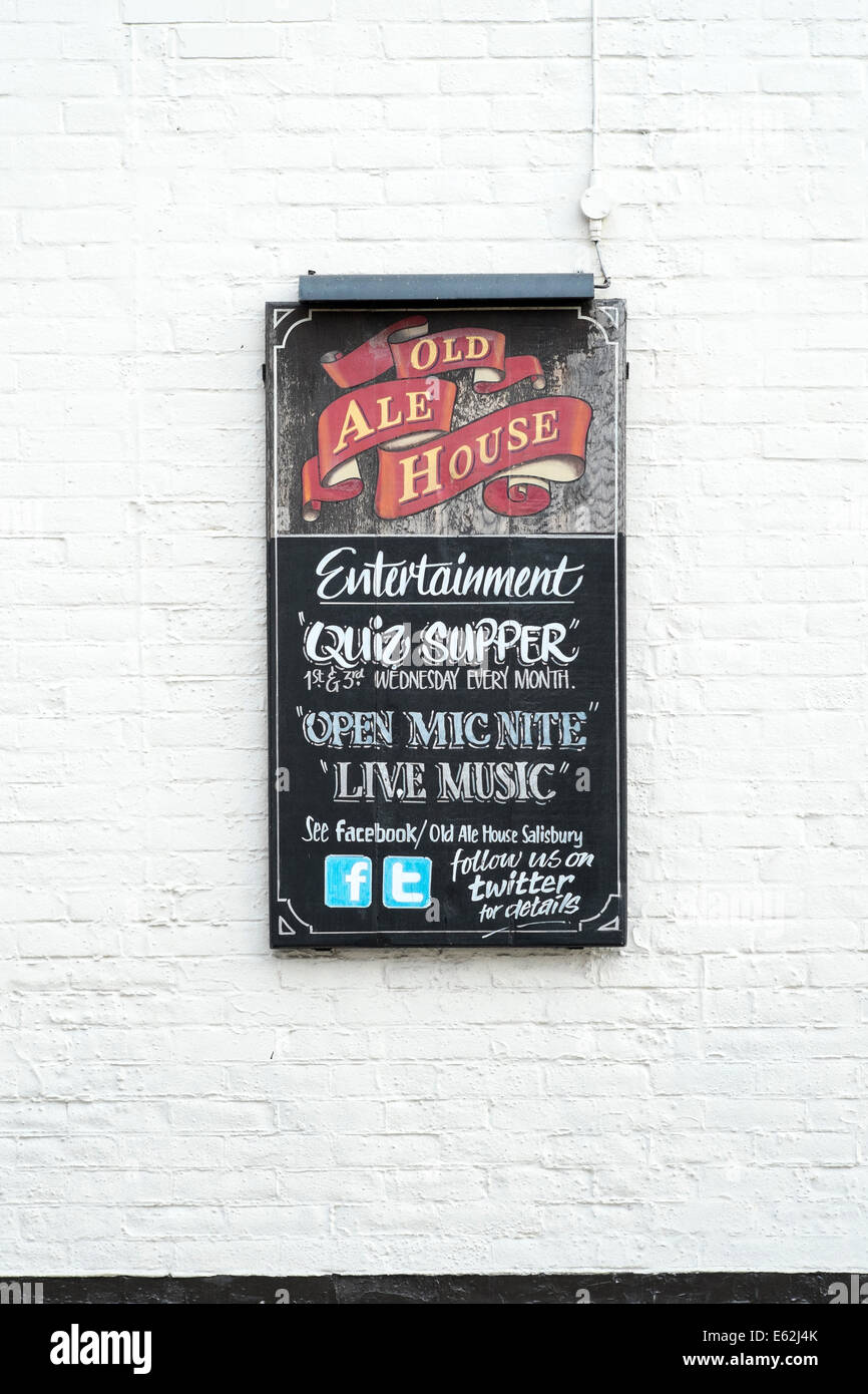 Pub Chalk Board On Wall Advertising Entertainment With Facebook And