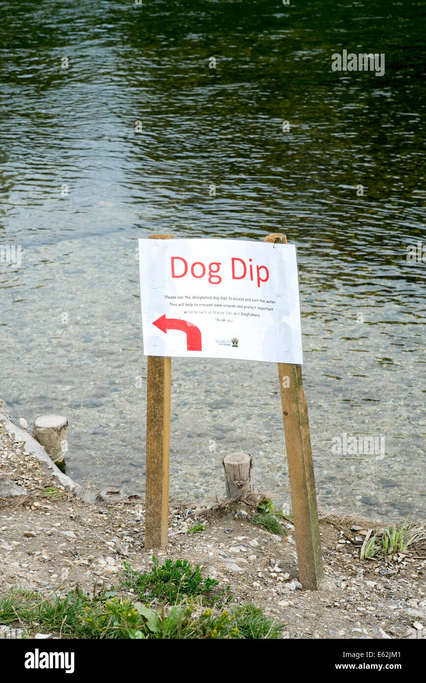 Dog dip sign indicating point at which dogs can enter a river at a site of special scientific interest SSSI - Stock Image