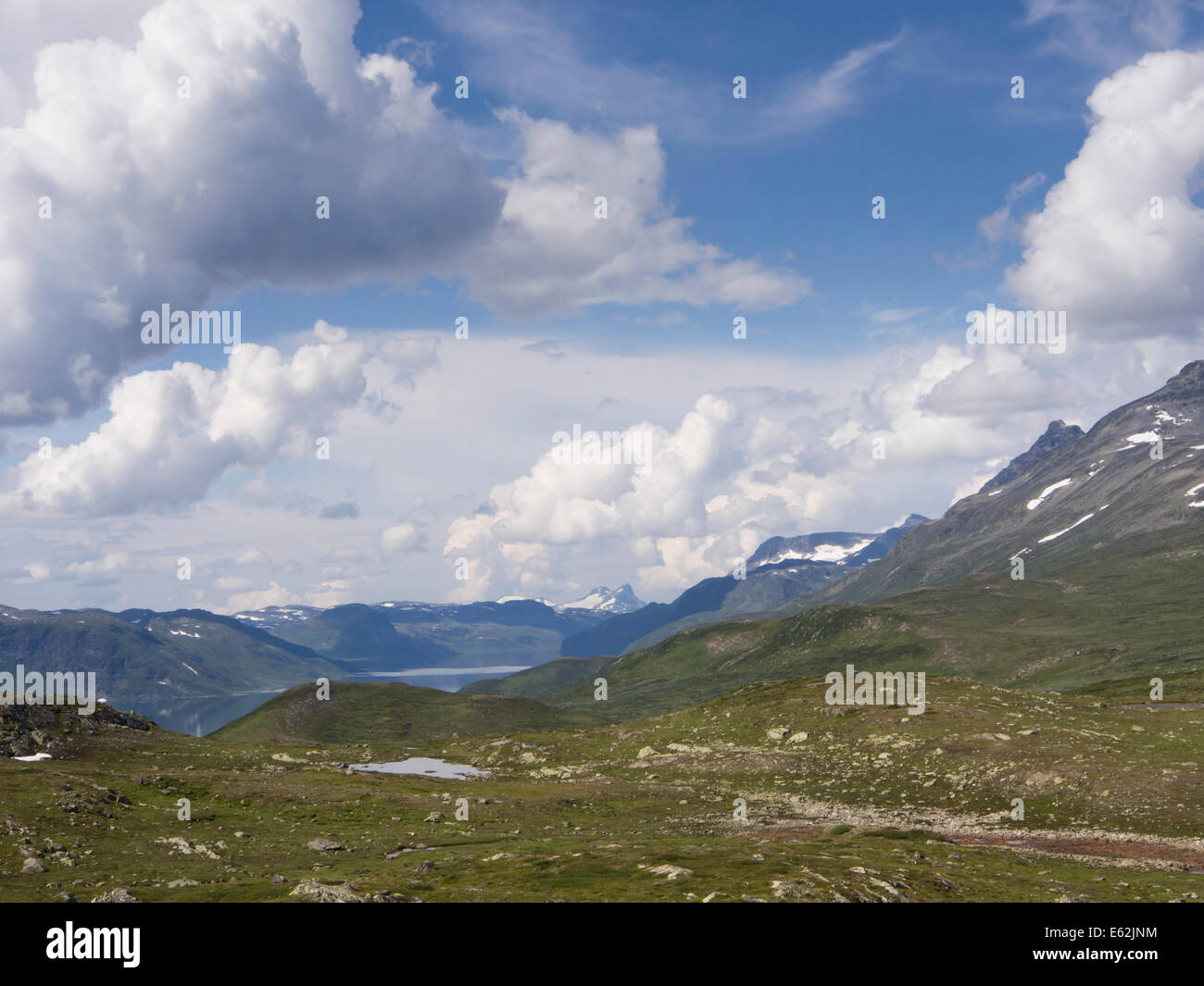 Mountain scenery, Jotunheimen Norway Scandinavia, mountain ranges  in the National park and Bygdin lake seen from - Stock Image