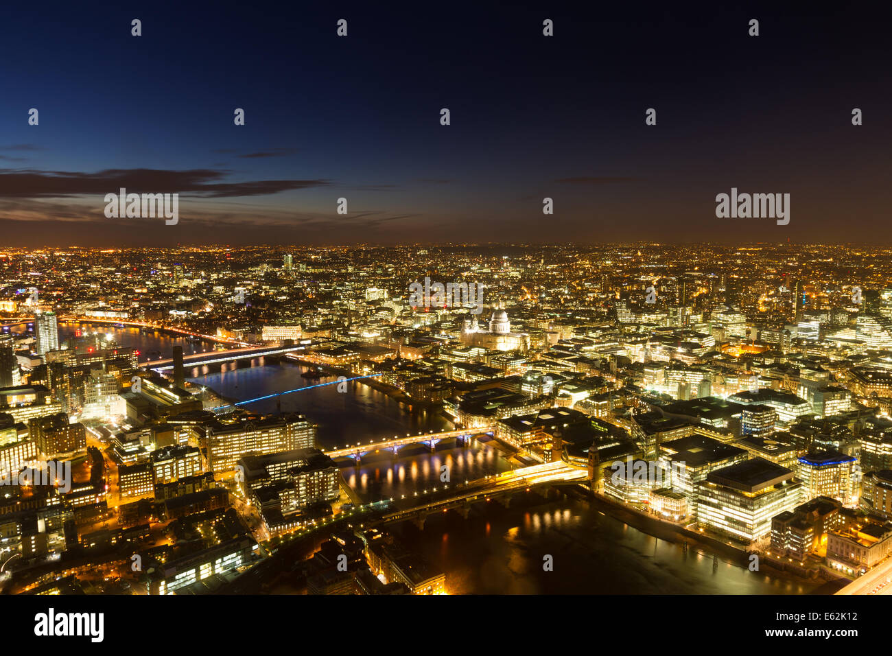 Aerial Panorama of London during the blue hour, England - Stock Image