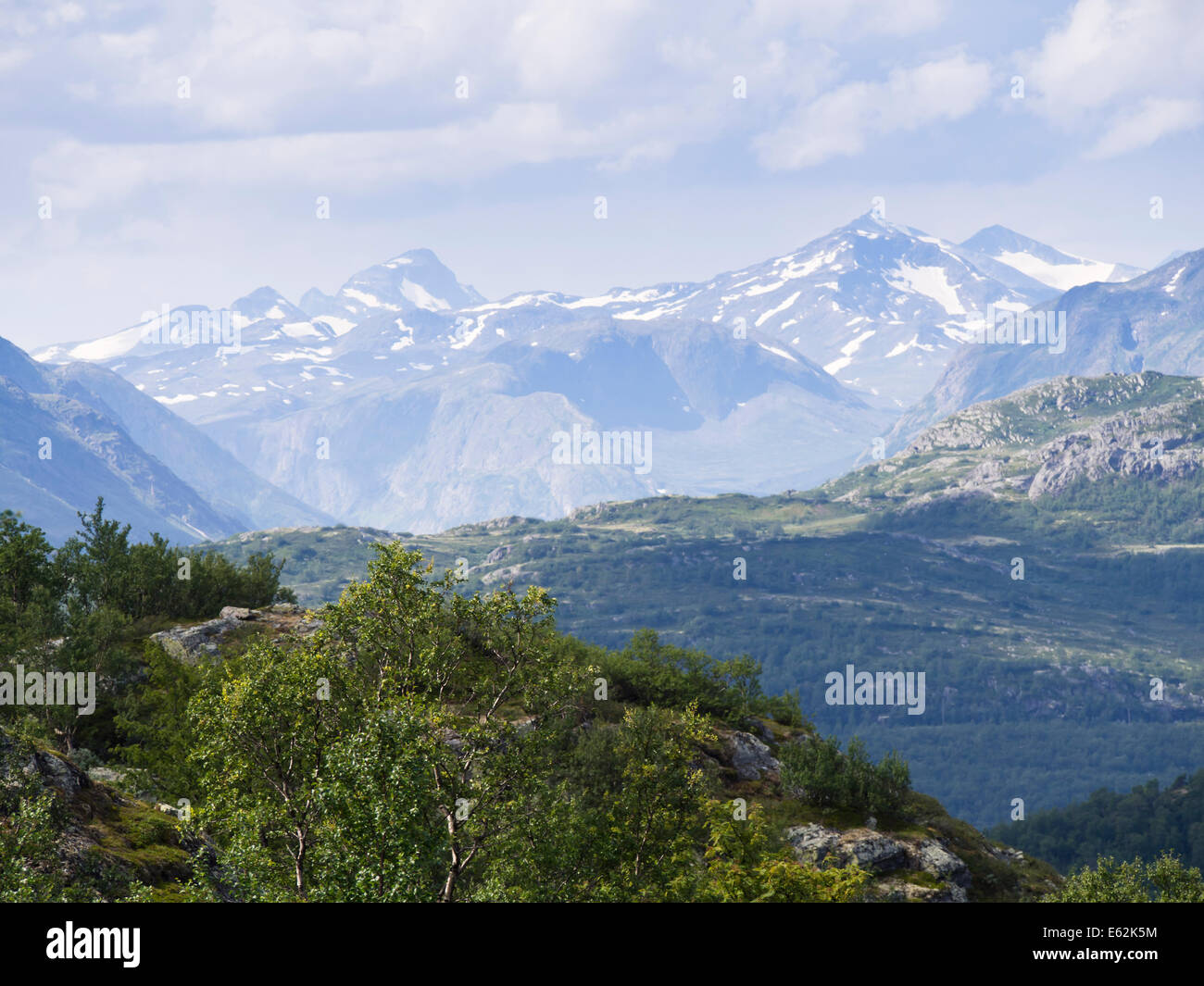 Mountain scenery, Jotunheimen Norway Scandinavia, mountain ranges in the National park - Stock Image