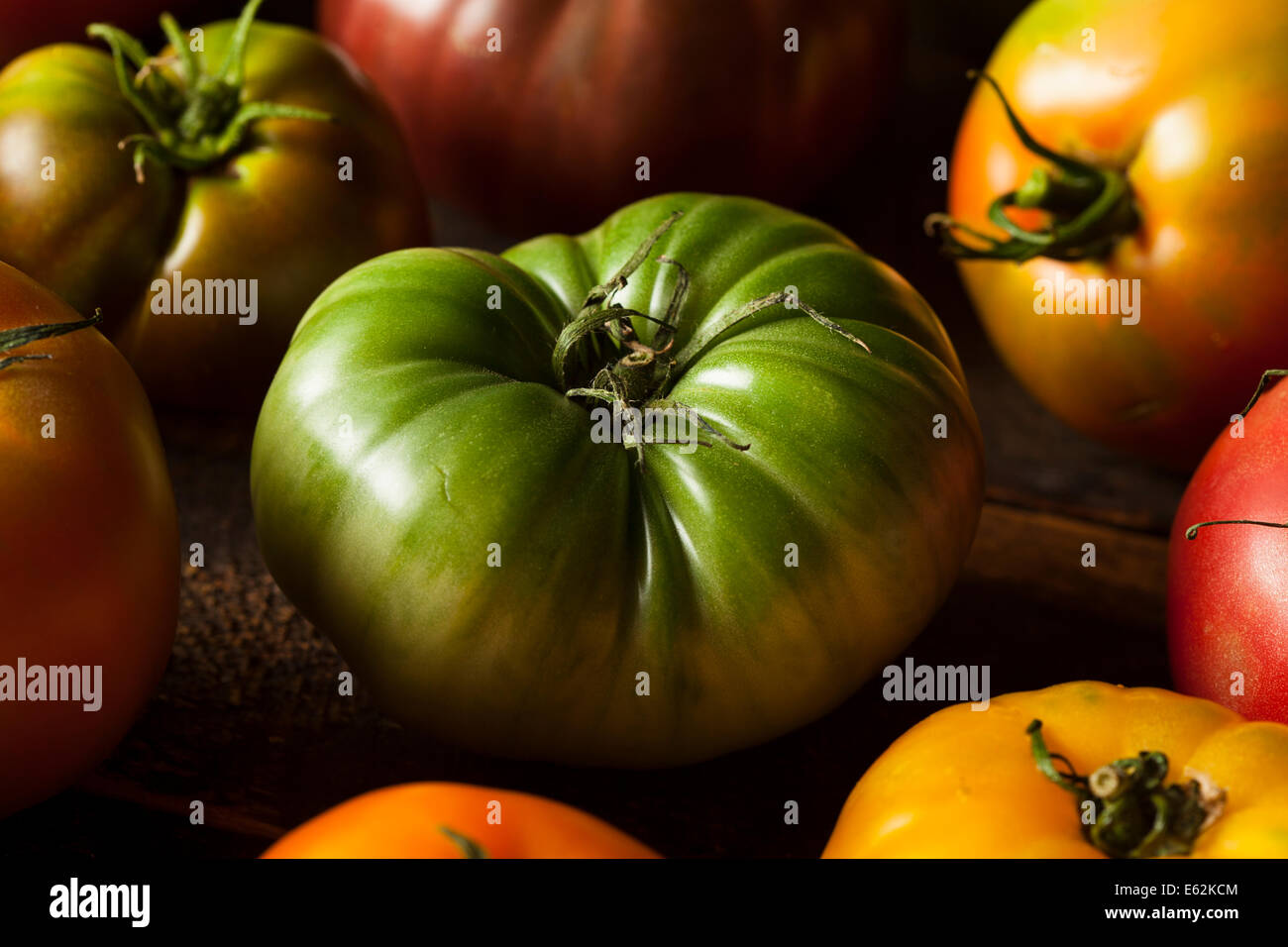 Colorful Organic Heirloom Tomatoes Fresh from the Garden Stock Photo