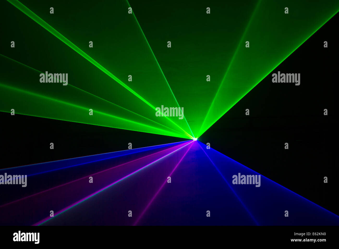 Blue, green, and red laser beams - Stock Image