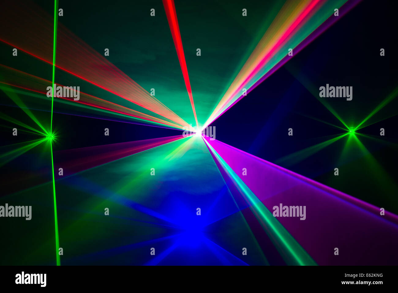 Full Spectrum of laser beams in all colors - Stock Image