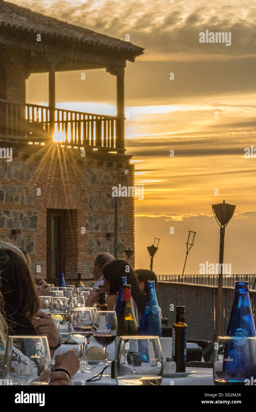 Sunset on the veranda of the Parador hotel, Toledo - Stock Image