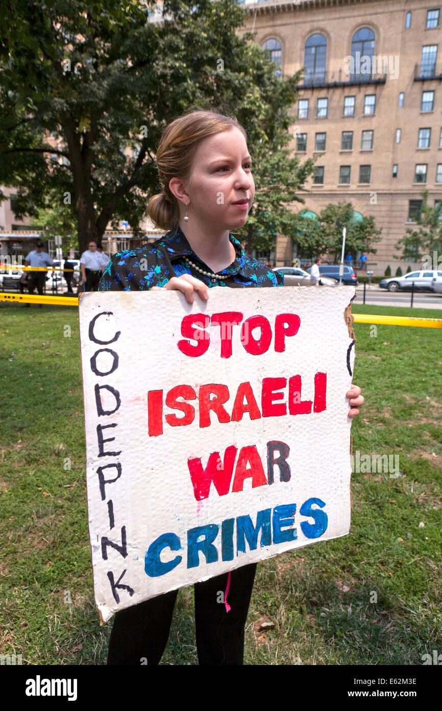 CodePink member holding a pro-Palestine sign  - Washington, DC USA - Stock Image