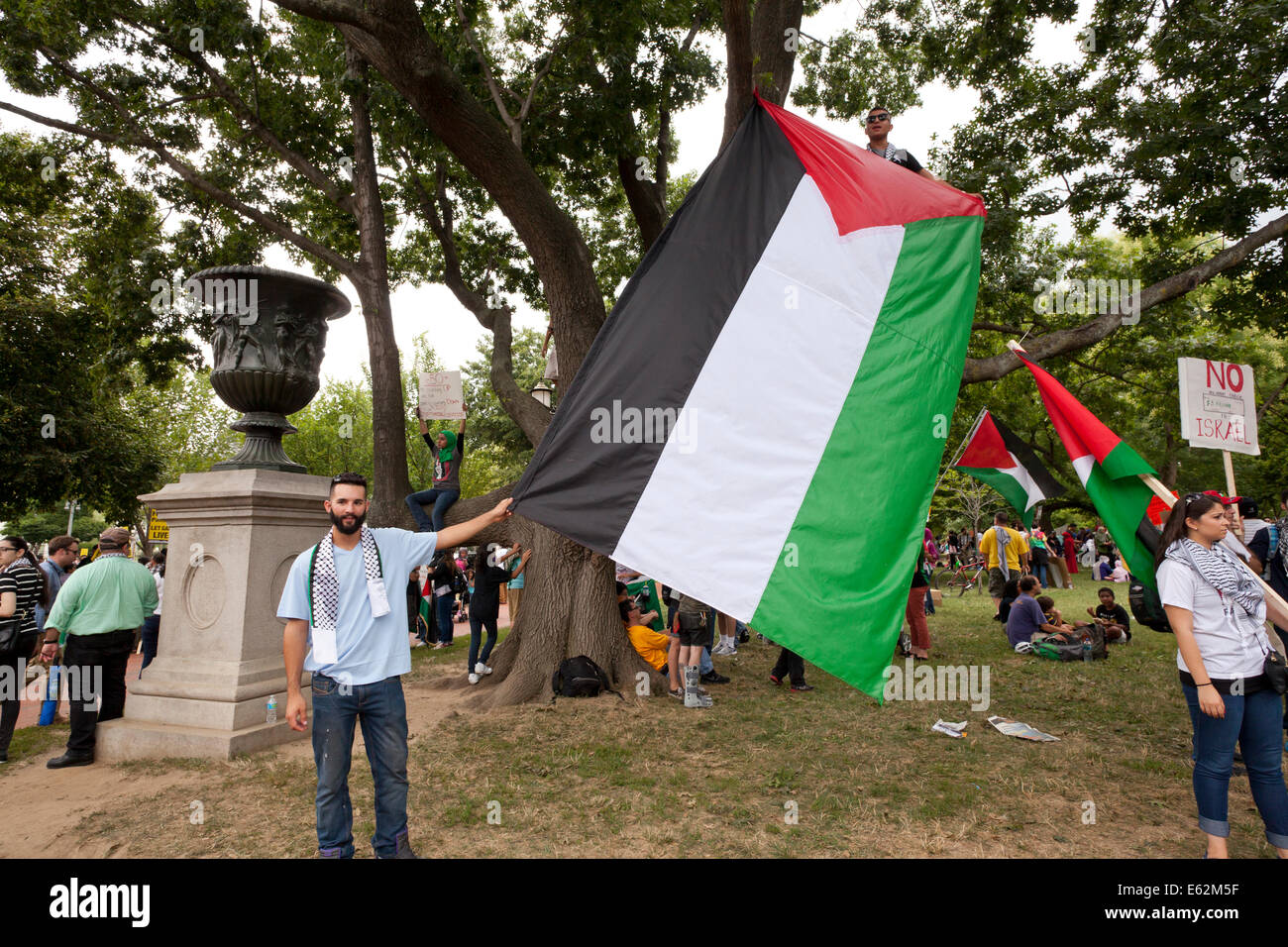 Pro-Palestine protesters holding large Palestinian flag - Washington, DC USA - Stock Image