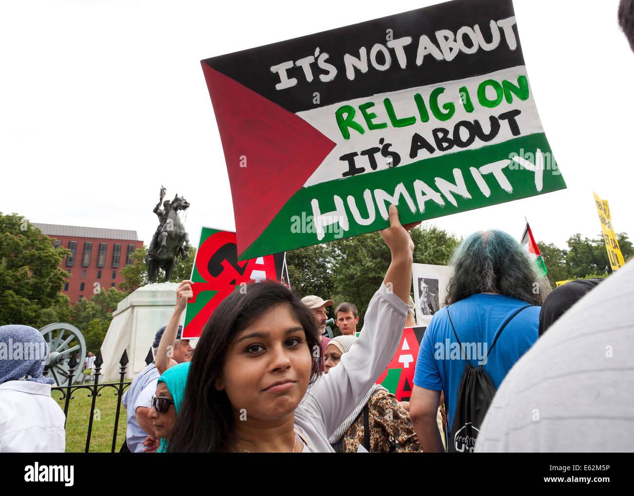 Pro-Palestine activist with sign - Washington, DC USA - Stock Image