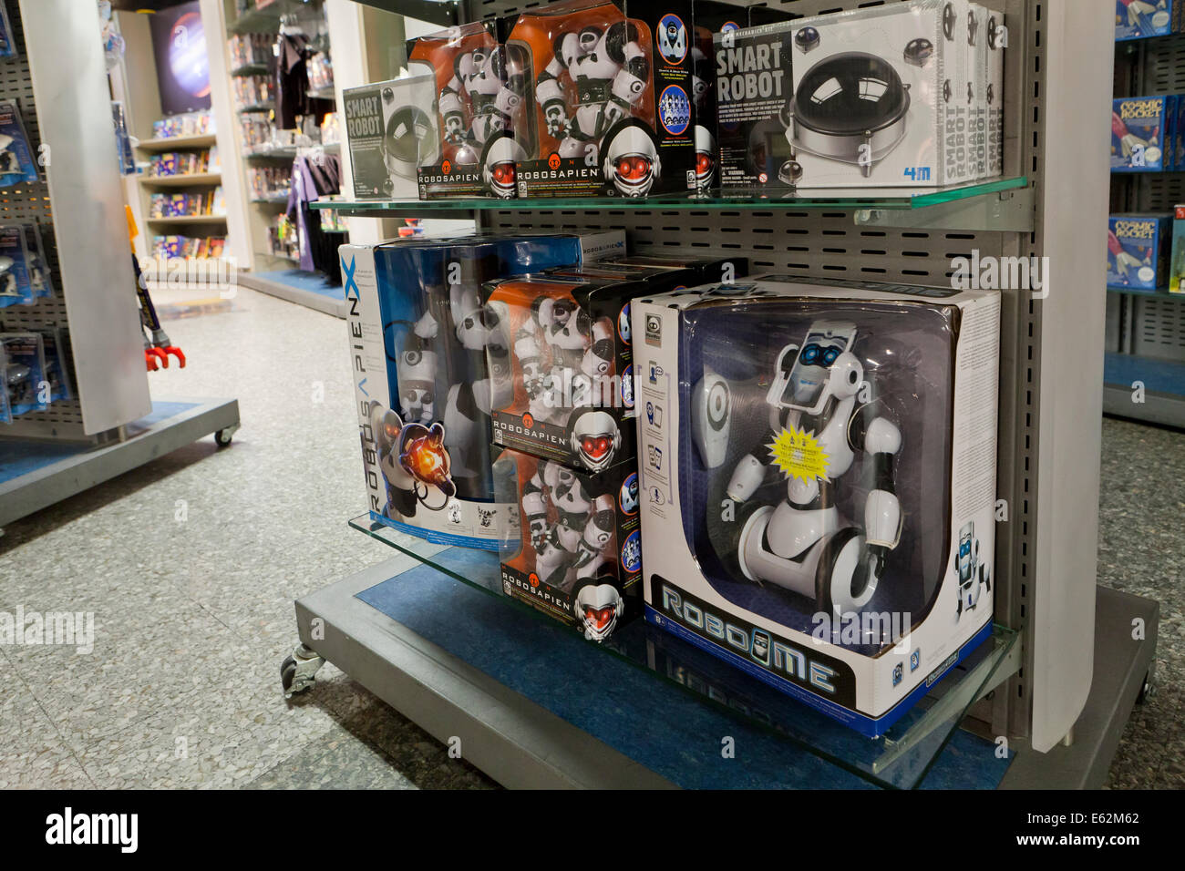 Toy robots on shelf at toy store - USA Stock Photo