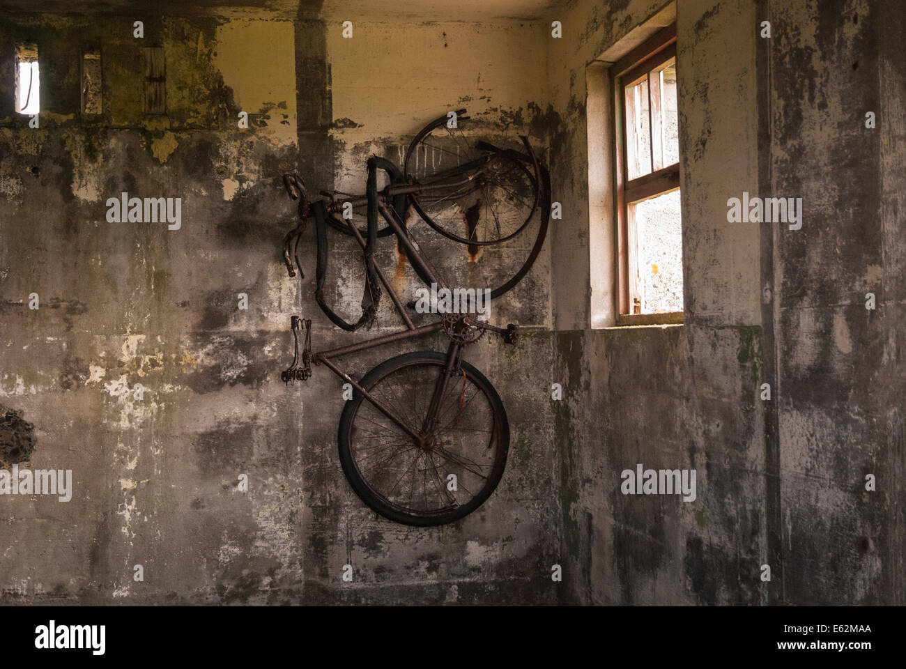 An old rusty bicycle hanging on the wall of a World War 2 defence building in Tankerness, Orkney, Scotland. - Stock Image