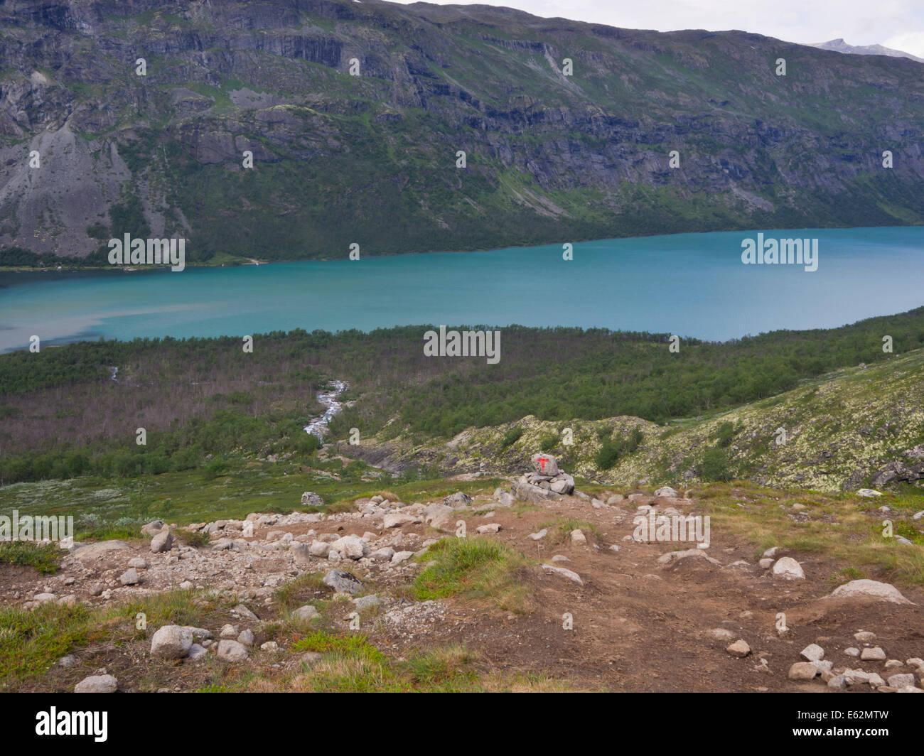 Jotunheimen National Park Norway, looking down at lake Gjende  from Svartdalen mountain pass - Stock Image