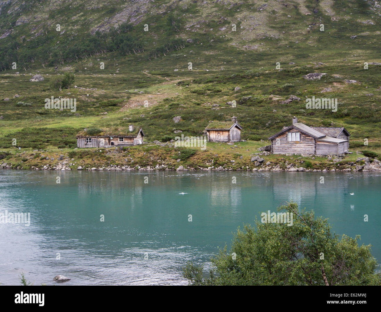 Old shieling in Norwegian mountains, most of them are now used as holiday cottages, Jotunheimen Norway Stock Photo