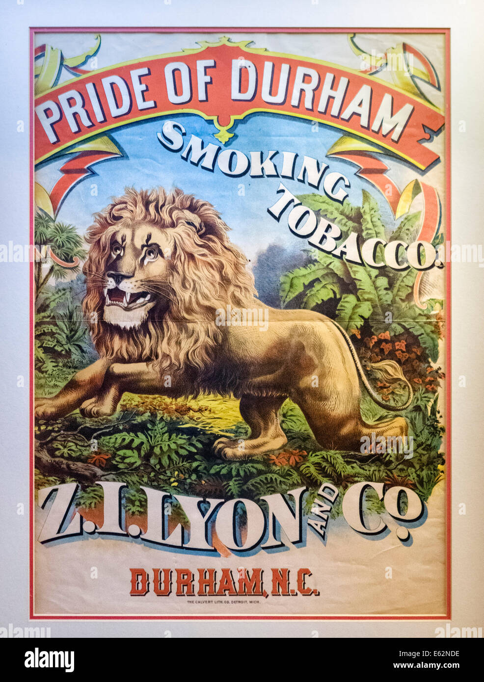 Old poster for smoking tobacco at the Duke Homestead and Tobacco Museum, Durham, North Carolina, USA - Stock Image