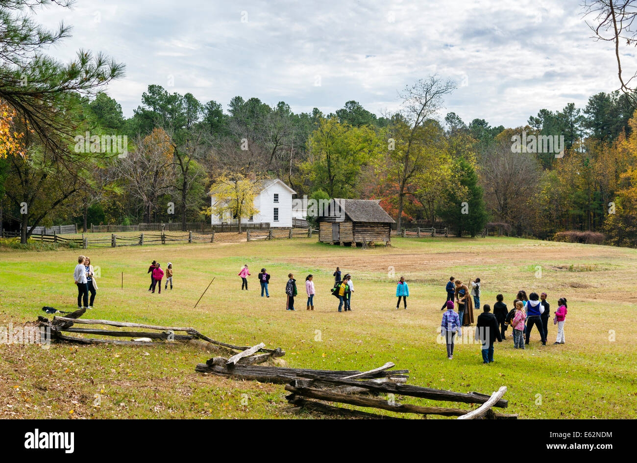 School party on a visit to the Duke Homestead and Tobacco Museum, Durham, North Carolina, USA - Stock Image