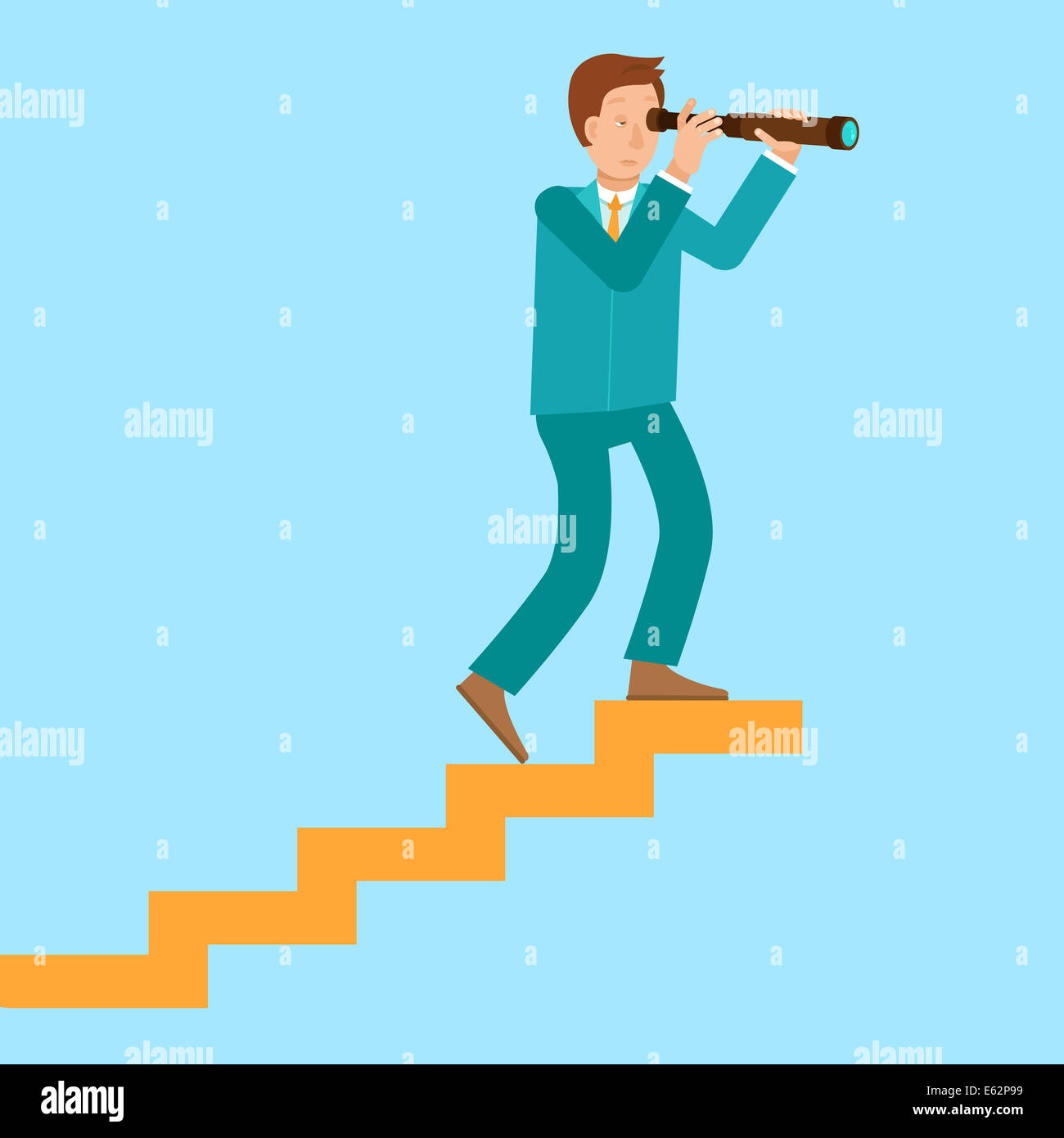 Career Concept In Flat Style Cartoon Man Climbing The