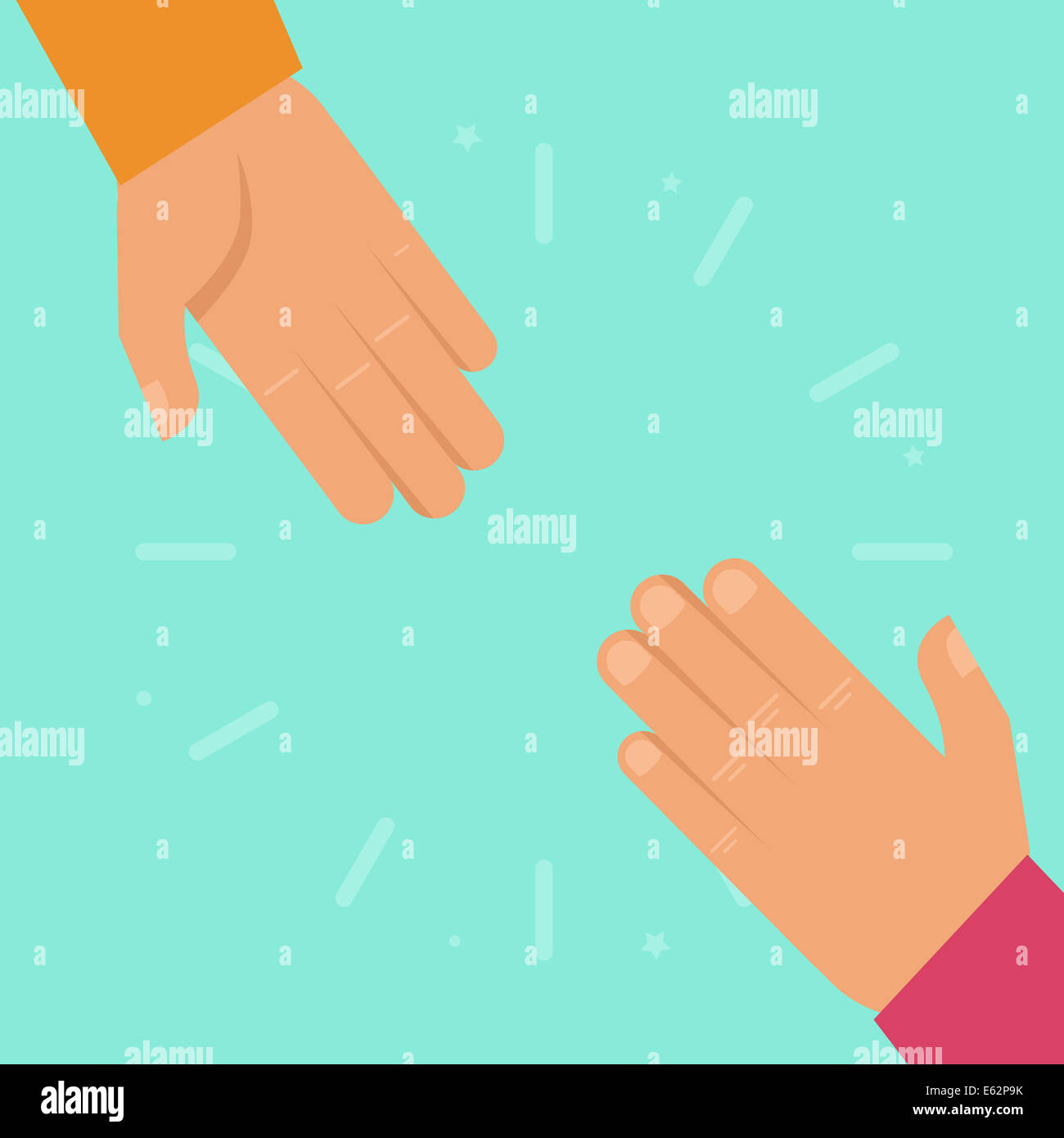 Helping hands in flat style - charity and support concept - Stock Image