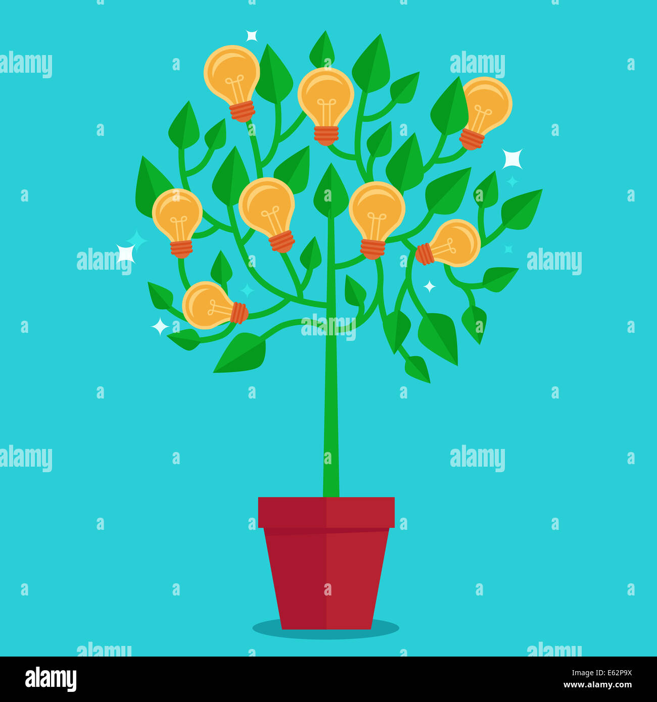Tree concept in flat style - green plant with light bulbs on the branches - idea concept - Stock Image