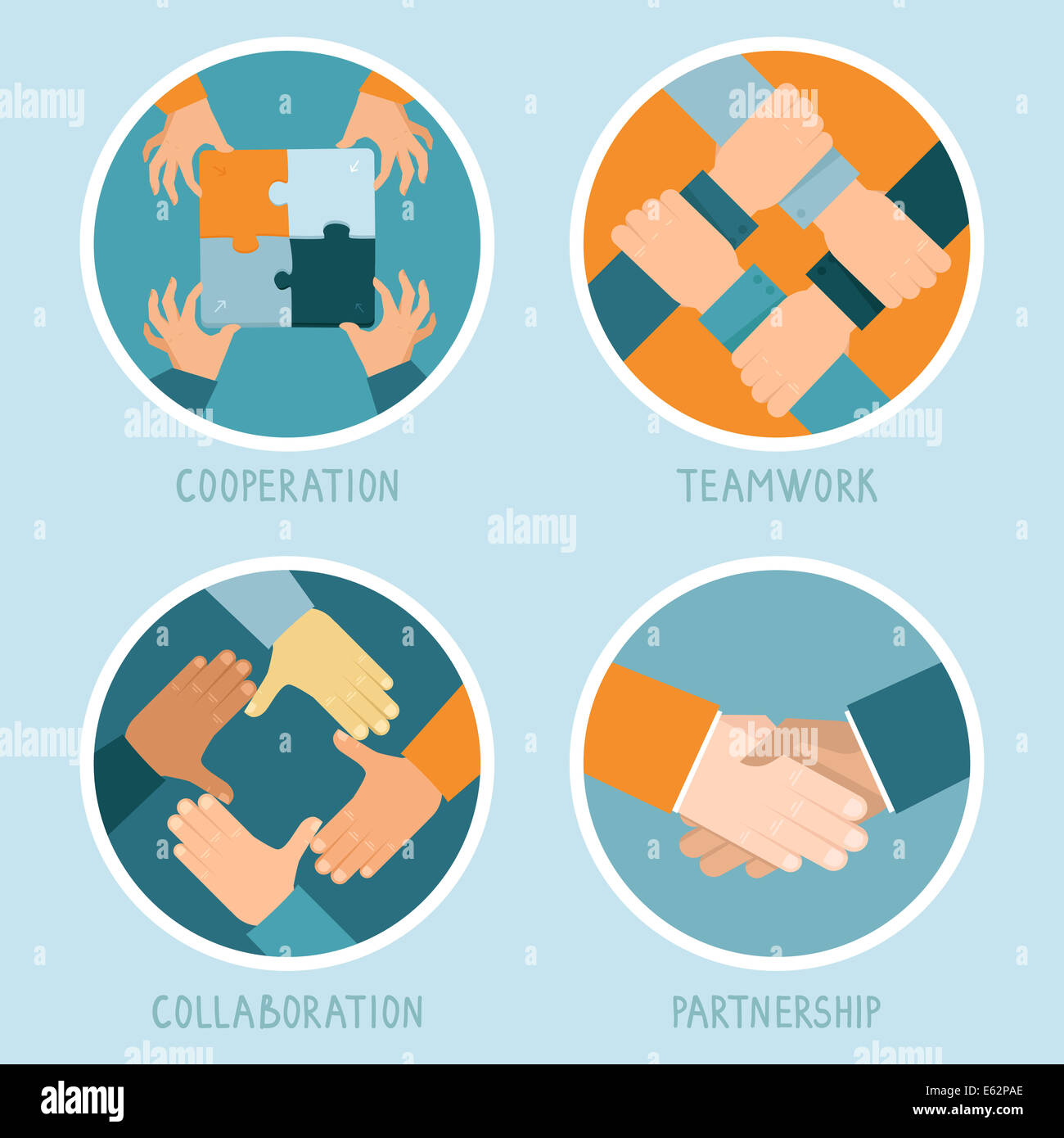 Teamwork and cooperation concept in flat style - partnership and collaboration icons - businessmen hands - Stock Image
