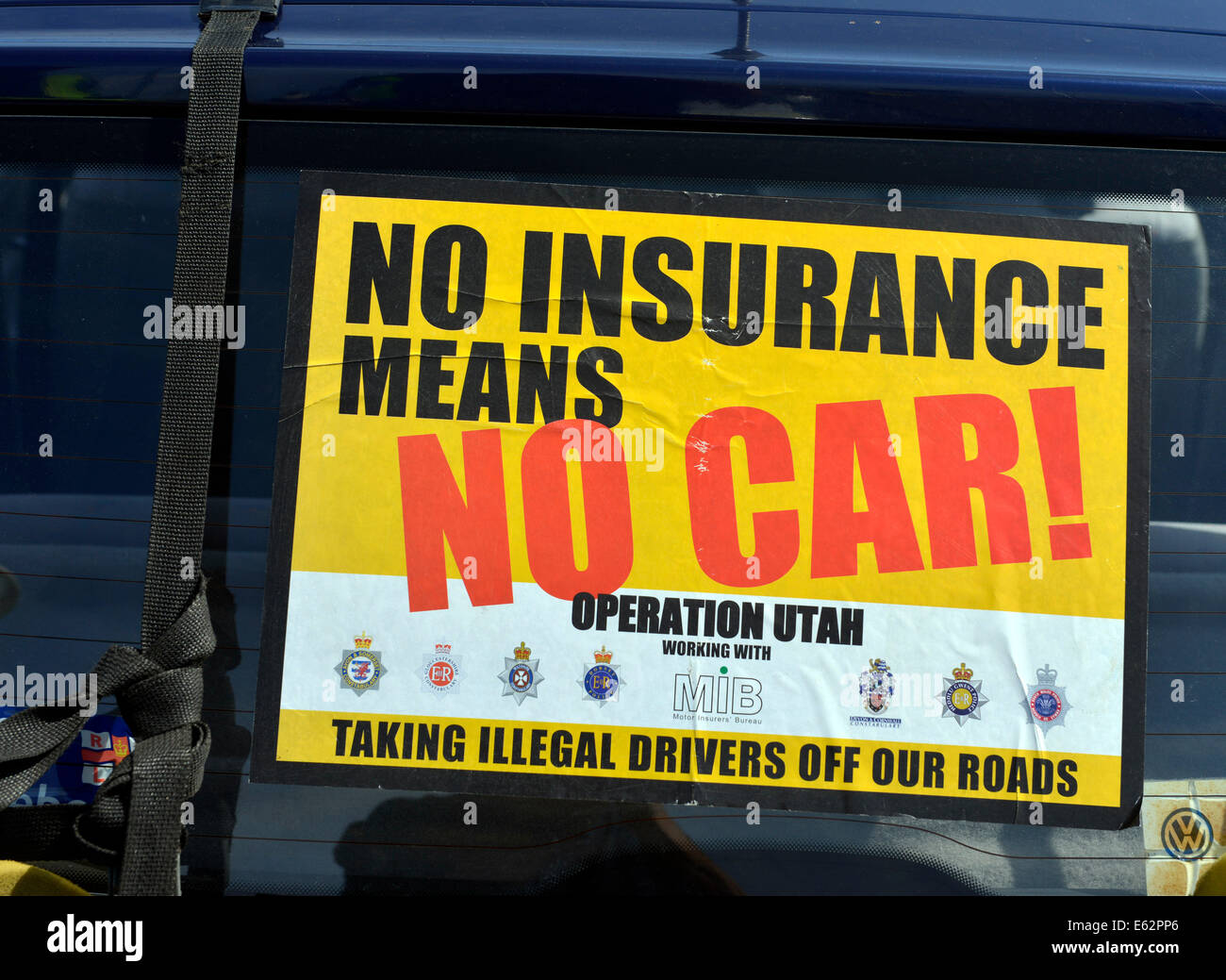 Dorset, UK. 12th Aug, 2014. Dorset Police seizing cars with no motor insurance. Drivers with no insurance will be - Stock Image