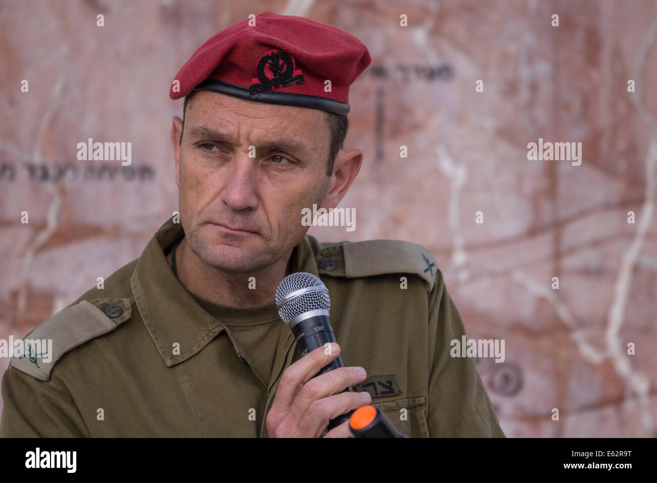 Israel. Then-Brigadier- General Herzi Halevi, currently IDF's Chief of intelligence. A historical battle map - Stock Image