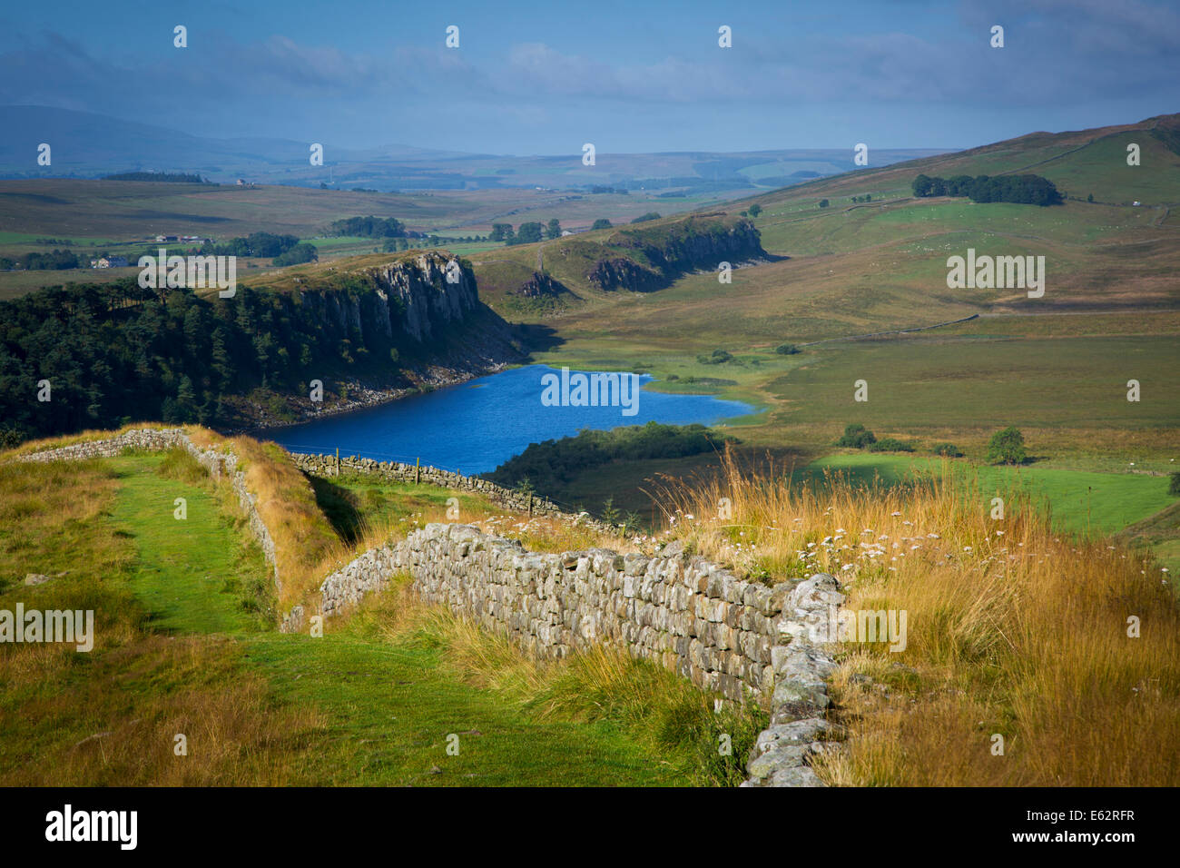 Dawn at Hadrian's Wall near the Roman fort at Housesteads, Northumberland, England - Stock Image