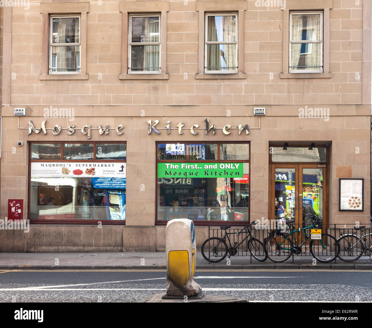The Mosque Kitchen, a 'Curry in a Hurry' house in Nicholson Square, Edinburgh, opposite Edinburgh Central Mosque. Stock Photo