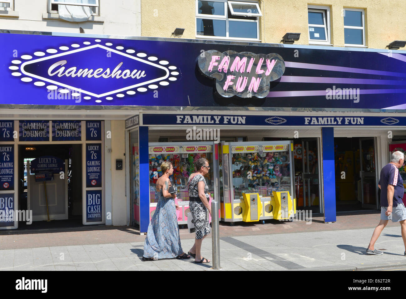 Amusement arcade Clacton on Sea England English holiday seaside town Essex - Stock Image