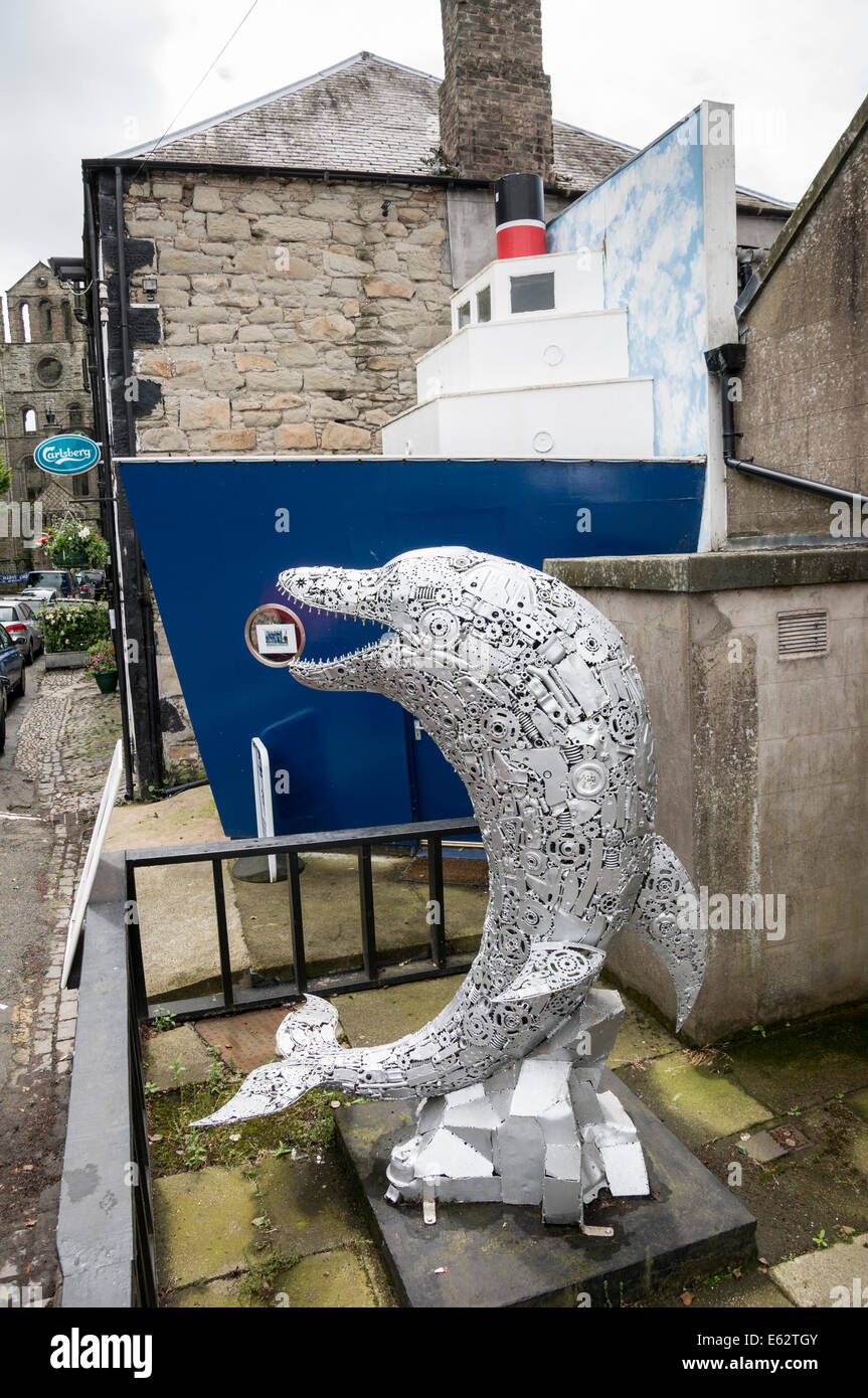 Kelso, Scottish Borders - dolphin sculpture outside the Art House Gallery. Stock Photo