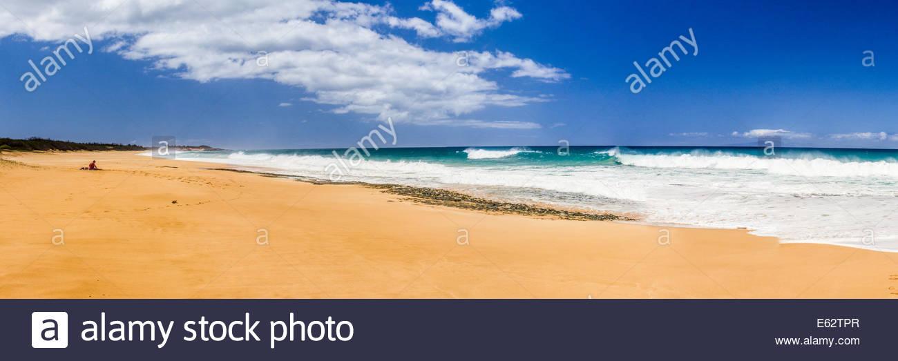 Papohaku Beach Panorama - Molokai, Hawaii, USA - Stock Image