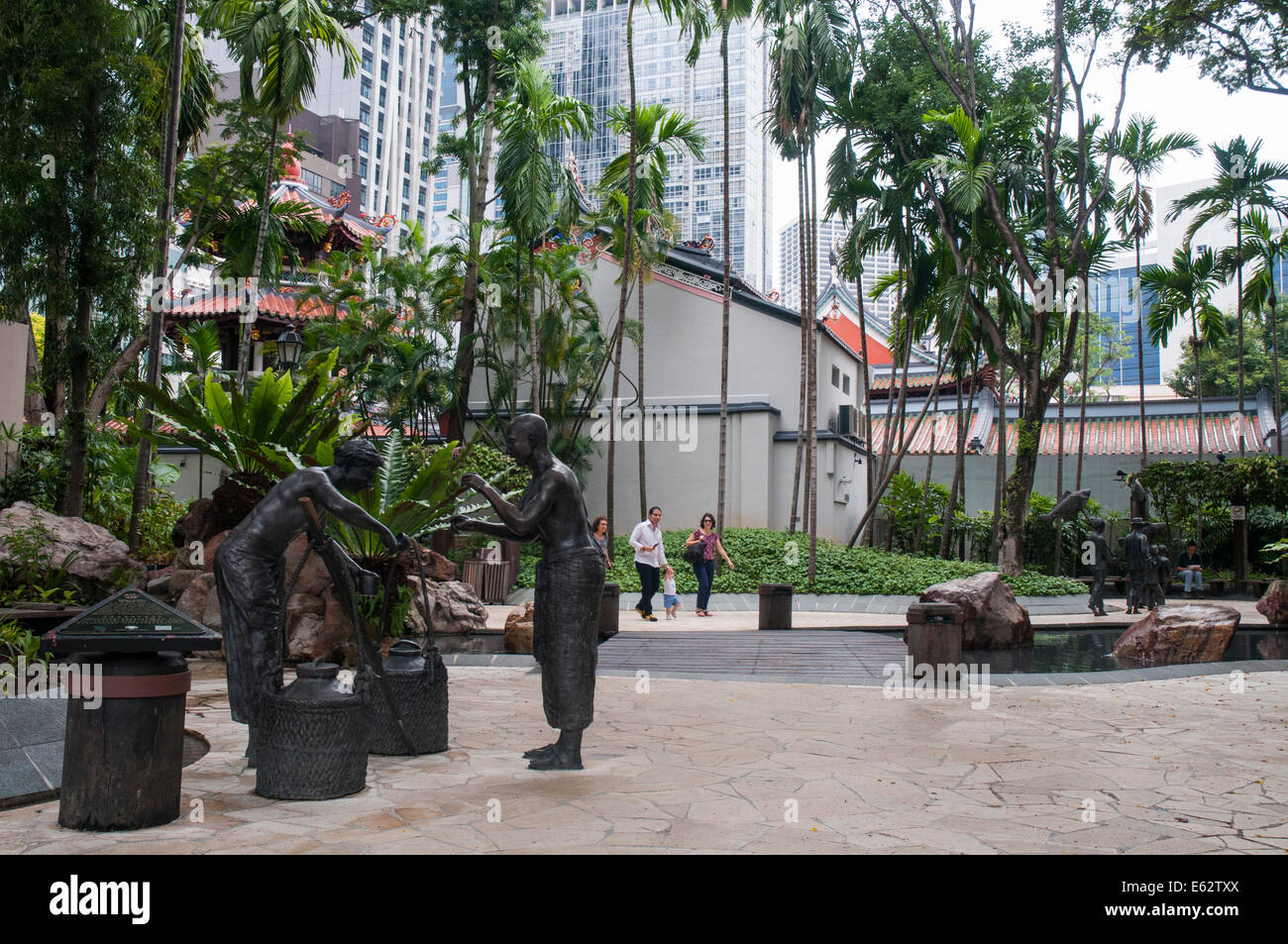 Telok Ayer Green, Chinatown, Singapore. After 1819 the Malay kampong here became a Chinese community - Stock Image