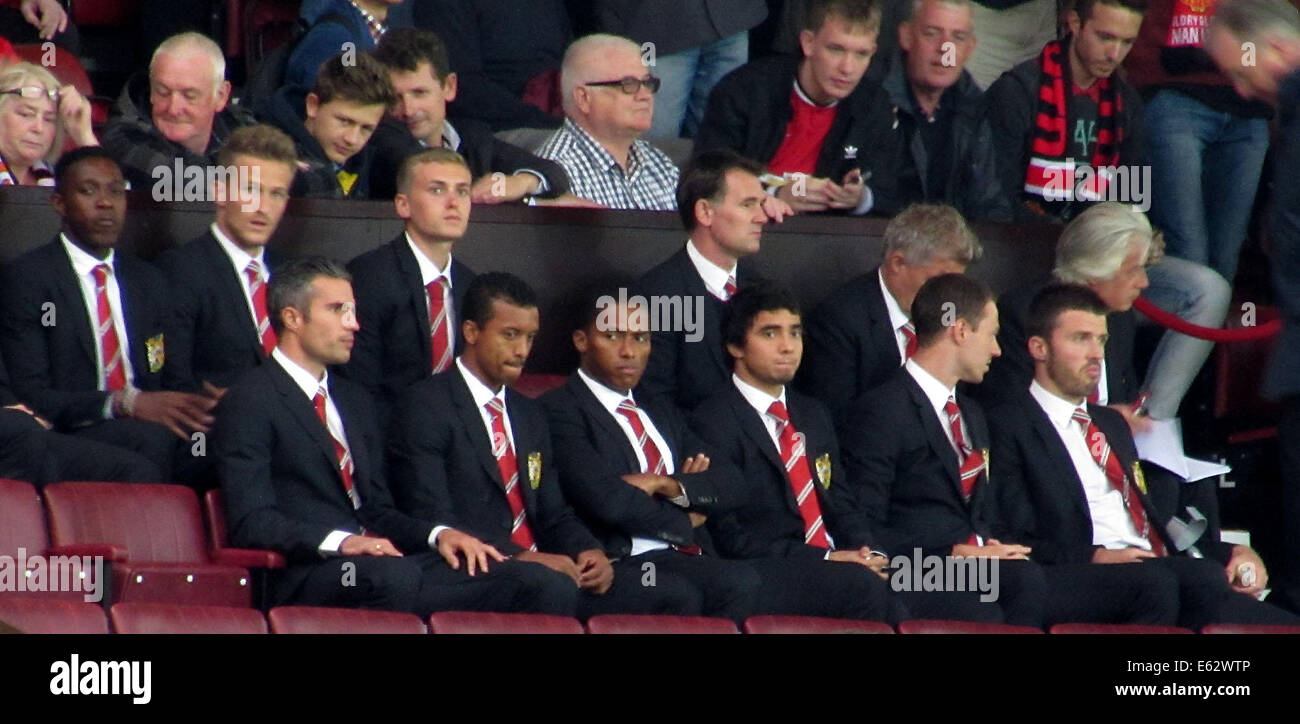 Manchester, UK. 12th Aug, 2014. ReUnited14 - Manchester United v Valencia. The first home game for new manager Louis - Stock Image