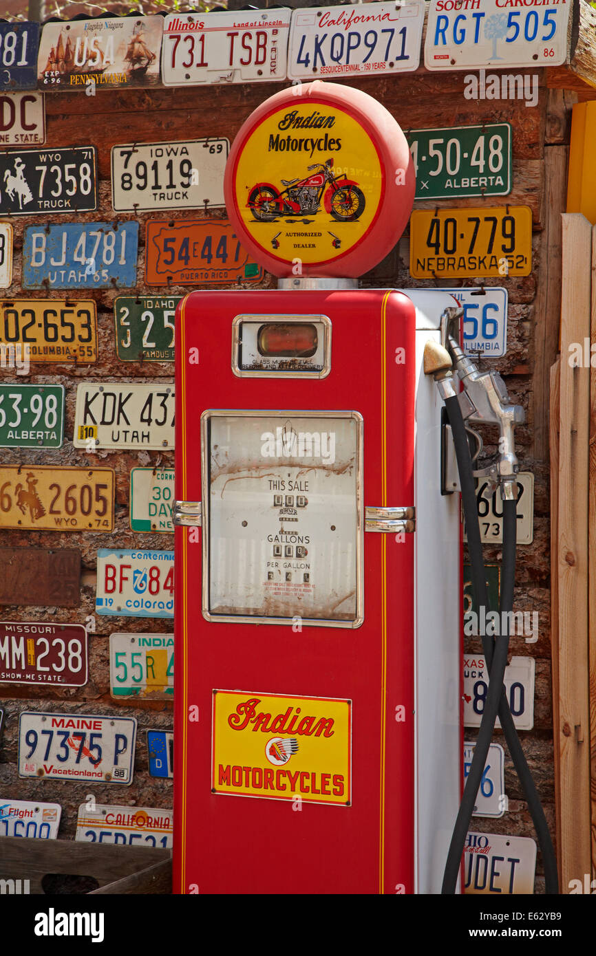 Historic gasoline pump at Hole n the rock, near Moab, Utah, USA - Stock Image