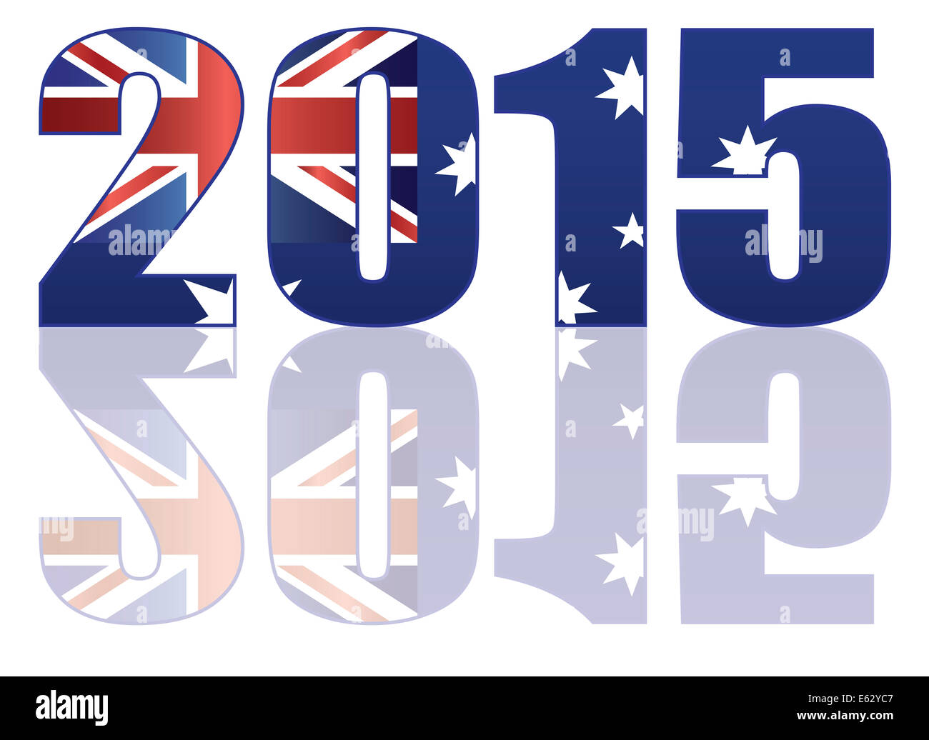 Happy New Year 2015 Numerals SIlhouette Outline with Australia Flag Illustration - Stock Image