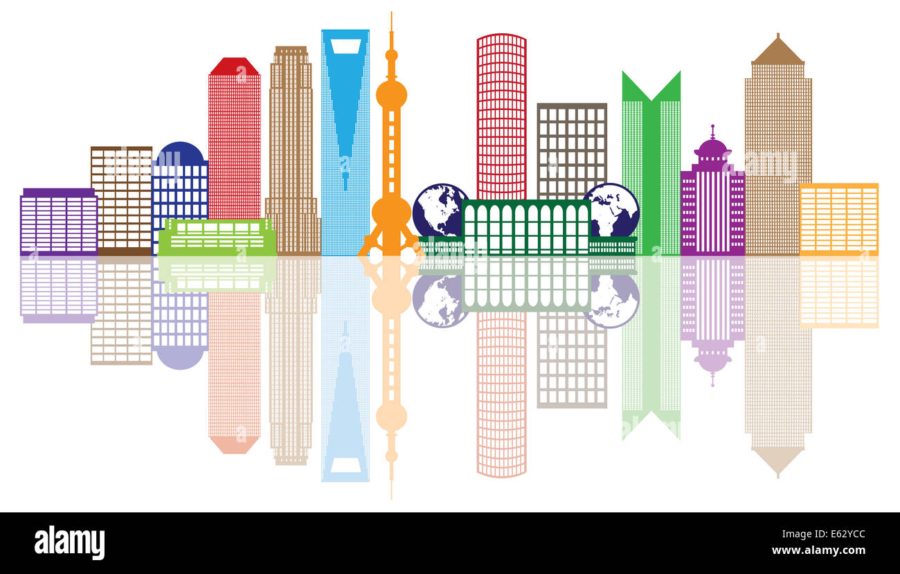 Shanghai China City Skyline Outline Silhouette Color with Reflection Isolated on White Background Illustration - Stock Image