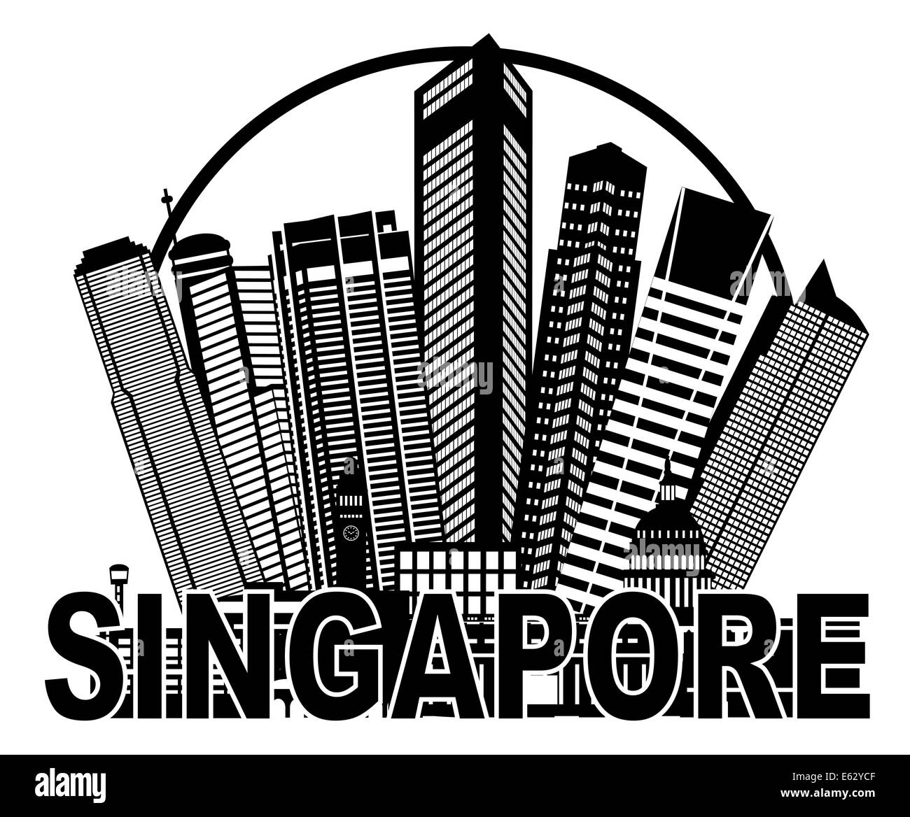 Singapore City Skyline Silhouette Outline in Circle Black Isolated on White Background Illustration - Stock Image