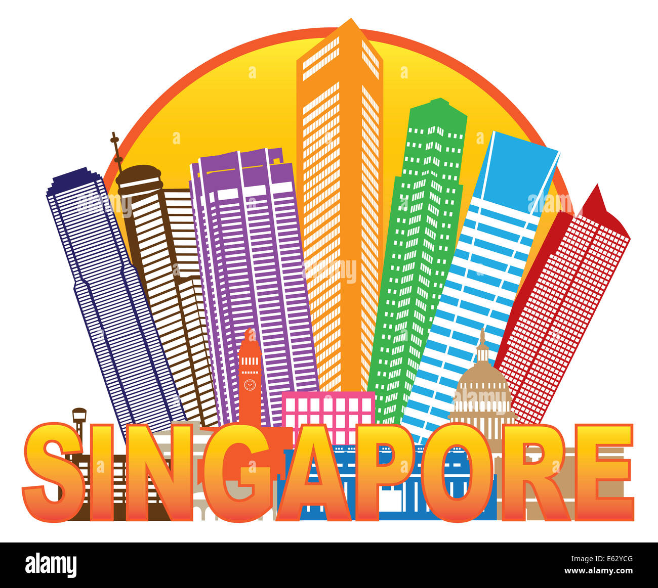 Singapore City Skyline Silhouette Outline in Circle Color Isolated on White Background Illustration - Stock Image