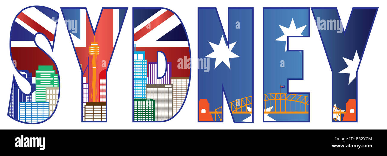 Sydney Australia Text Outline with Skyline Tower Bridge and Flag Color Illustration - Stock Image
