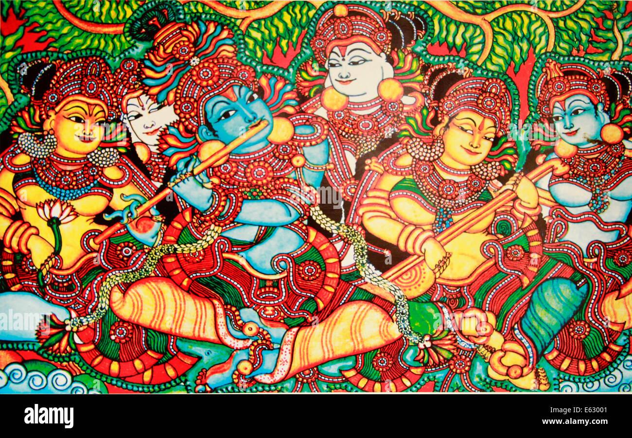 Mural painting depicting Rasa leela or rasa lila ,  also called the dance of divine love - Stock Image