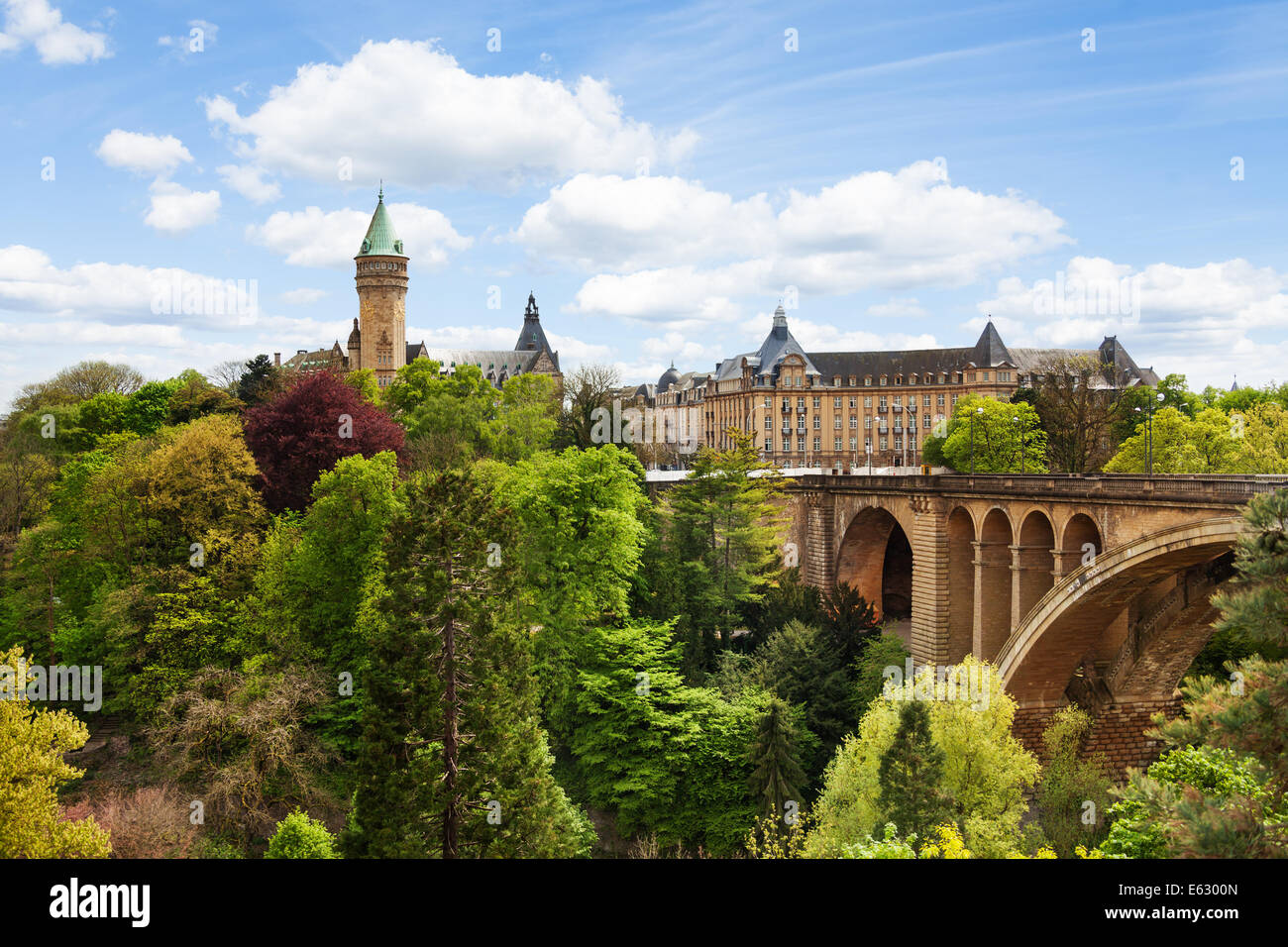 Pont Adolphe and State Saving Bank in  Luxemburg - Stock Image