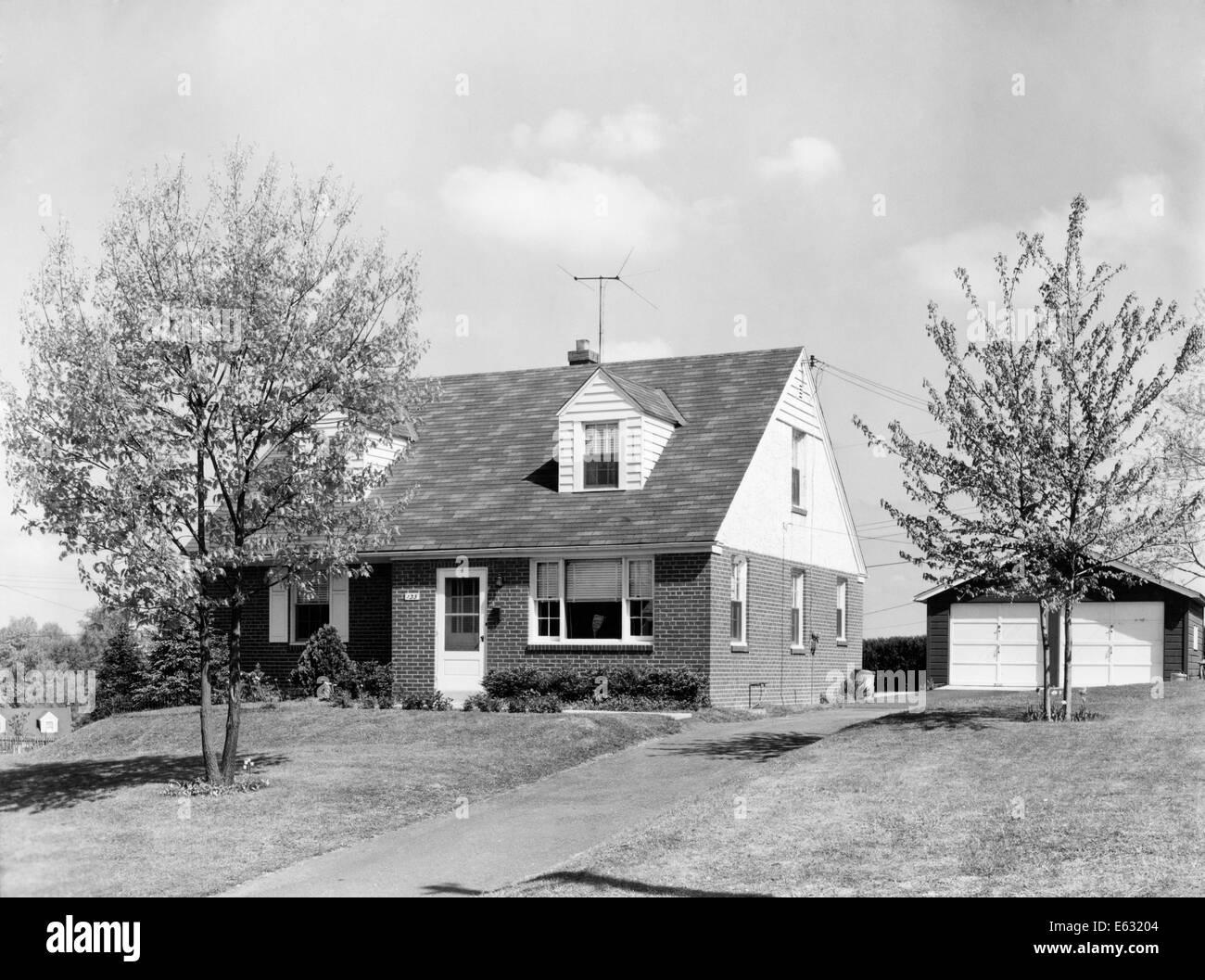 1950s BRICK TWO STORY SUBURBAN HOME SEPARATE 2 CAR GARAGE ...  1950s Suburban Homes
