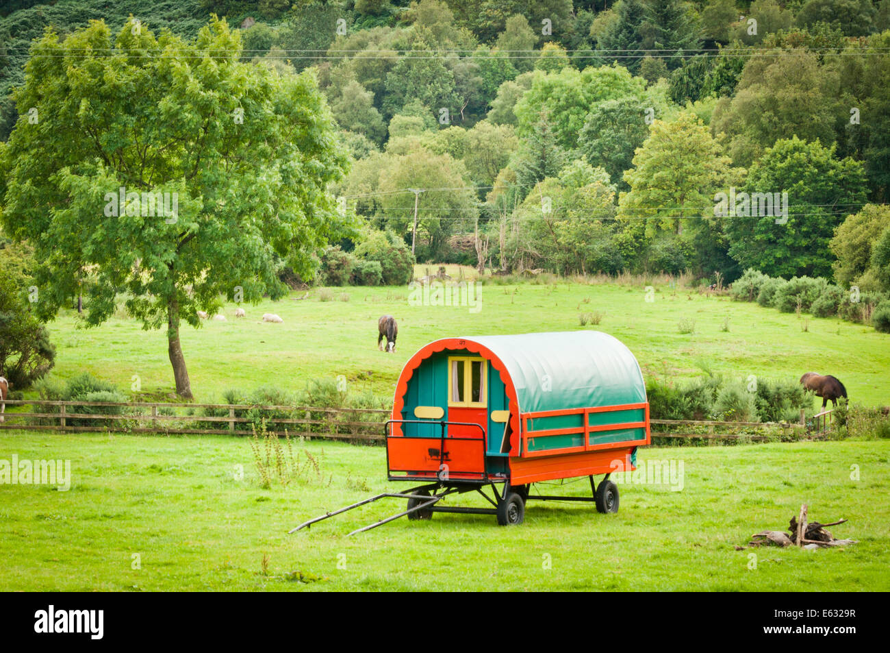 Traditional Gypsy Caravan in Countryside - Stock Image